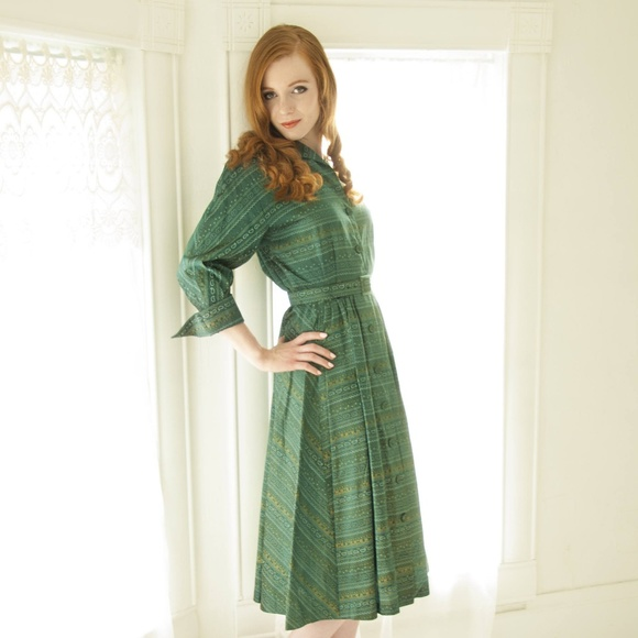 Brielle Creations Original Dresses | Vintage Green Paisley Dress ...